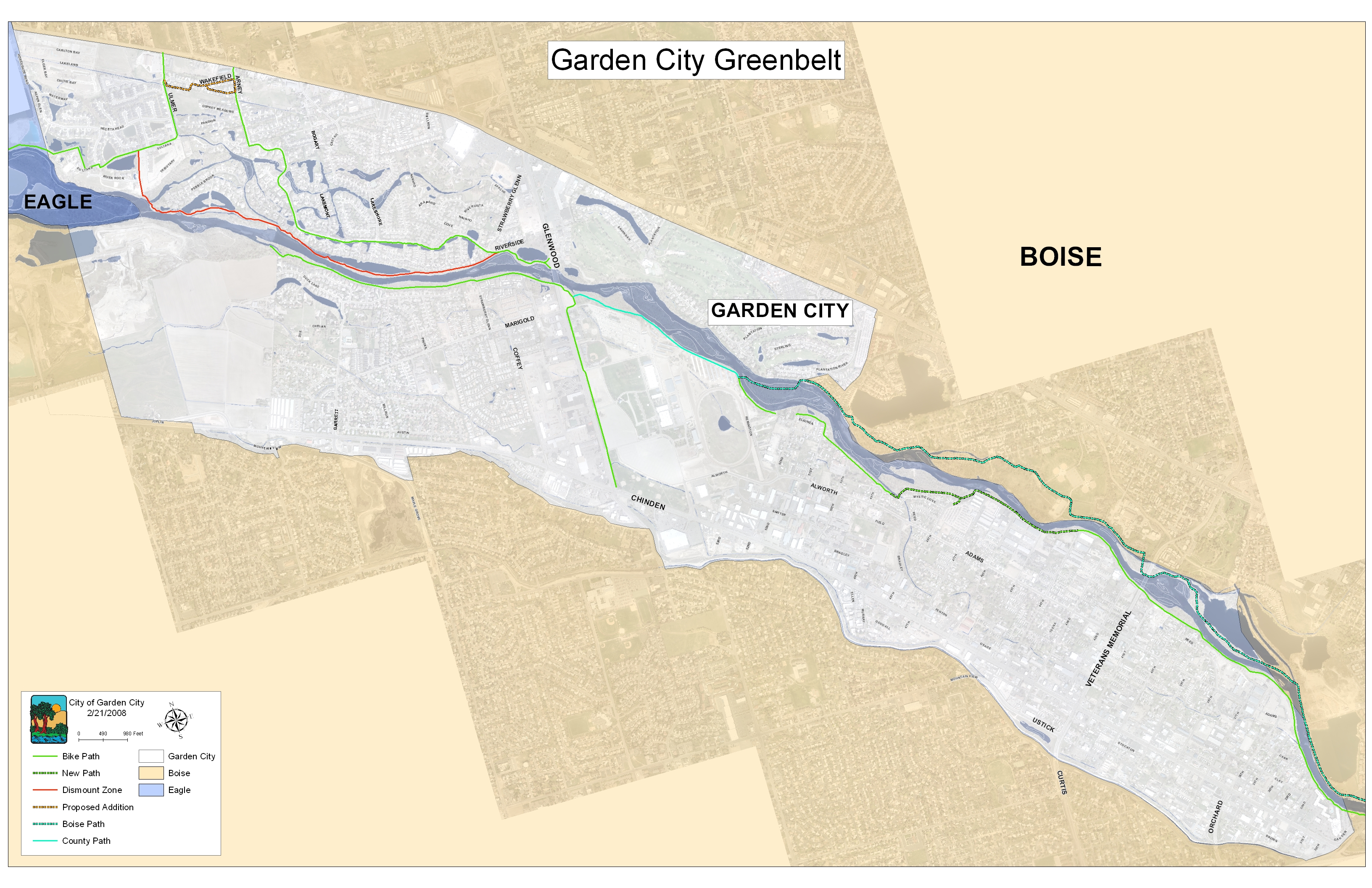 Boise Greenbelt Map Greenbelt Pathway   Garden City, Idaho